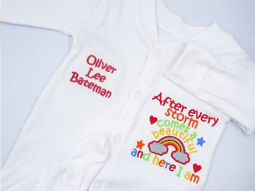 Personalised After Every Storm Comes a Beautiful Rainbow and Here I Am Sleepsuit