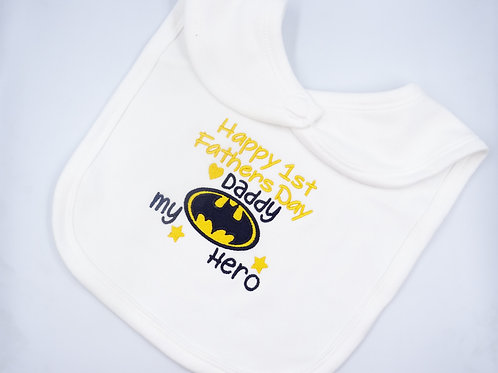 Embroidered Batman Happy 1st Fathers Day Daddy My Hero baby bib