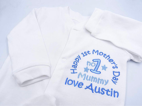 Personalised Embroidered Baby Boys Sleepsuit/Babygrow - Mothersday