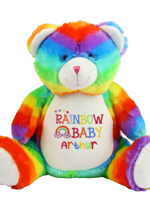 Personalised Rainbow Baby Name Bear