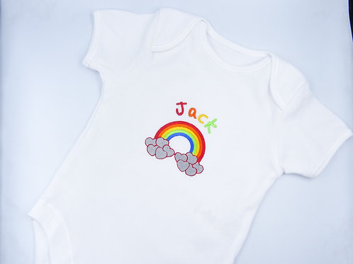 Personalised Rainbow Motif Baby Short Sleeved Vest - Add Any Name