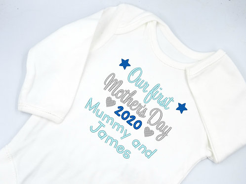 Personalised Embroidered Our First Mother's Day Mummy and Name Long Sleeved Vest