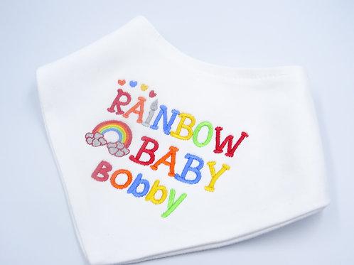 Personalised Rainbow Baby Name baby bib