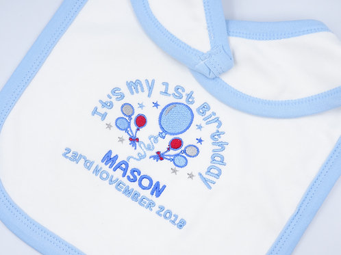 Personalised It's My 1st Birthday Balloons in Blue or Pink Bib