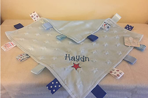 Personalised Baby Boy or Girl Dimple Blanket With Tags (Blue Star Dimples)