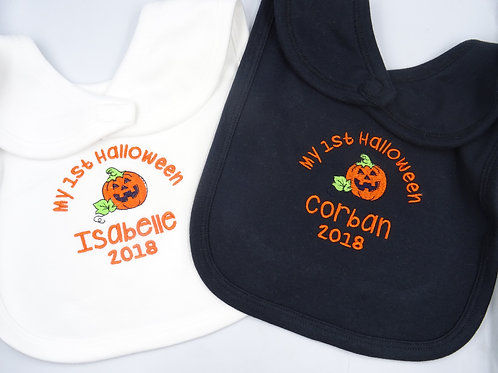 Personalised It's My First Halloween with Ghost or Pumpkin  Baby Bib