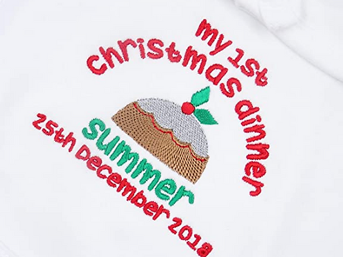 Personalised My 1st Christmas Dinner Baby Bib - Add Any Name and Year