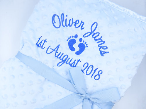 Personalised Blanket with Baby Feet, Name and Date