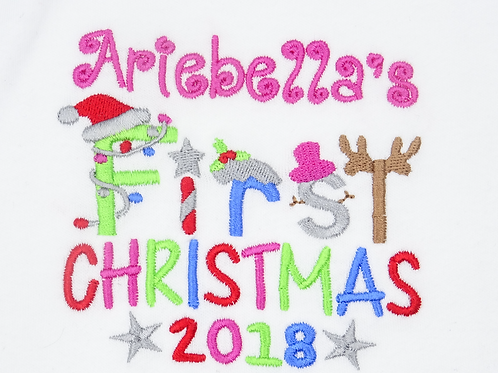 Personalised Girls Name First Christmas T-Shirt