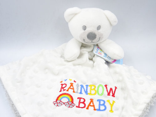 Personalised Rainbow Baby 3D Bear Comforter - Add Name if Required