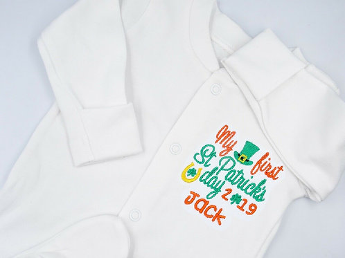 Personalised Embroidered My First St Patricks Day Baby Unisex Sleepsuit