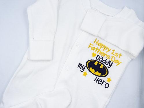 Batman Happy 1st Fathers Day Daddy Sleepsuit