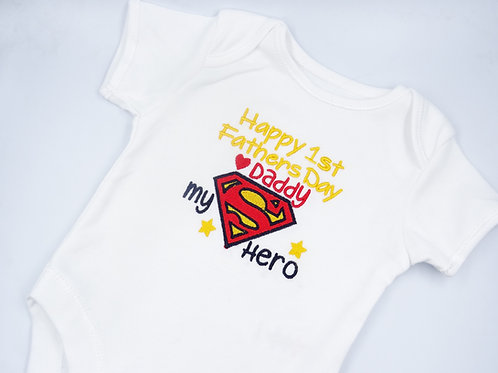 Superman Happy 1st Fathers Day Daddy Short Sleeved Vest