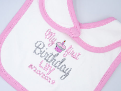 Personalised My first Birthday with Cupcake Bib