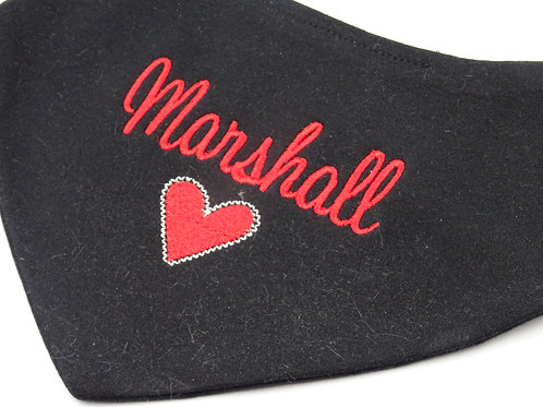 Personalised Embroidered Black or White Love Heart Bandana Baby Bib