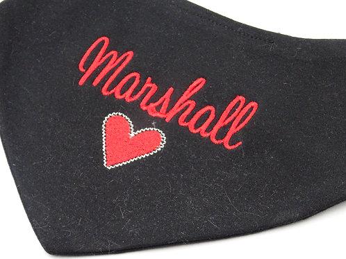 Personalised Embroidered Black or White Love Heart Bandana  Baby Bib
