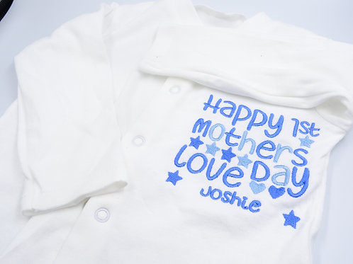 Personalised Embroidered Happy 1st Mother's Day Stars and Hearts Sleepsuit