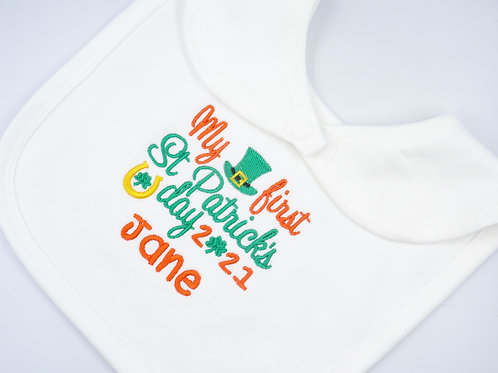 Personalised Embroidered My First St Patrick's Day Baby Bib