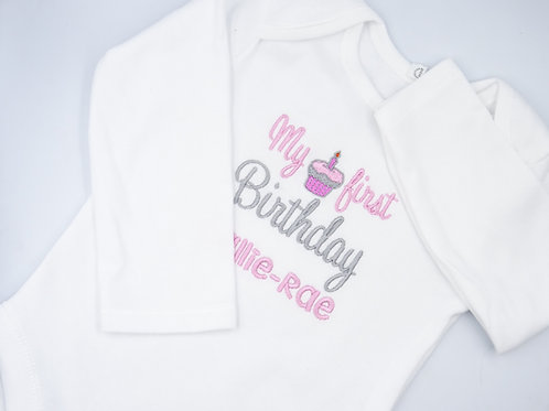 Personalised It's My first Birthday With Cupcake Long Sleeved Vest