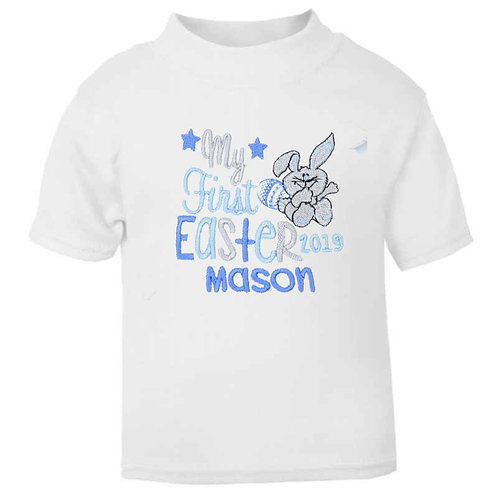 Personalised Embroidered It's My First Easter Bunny and Egg Baby T-shirt