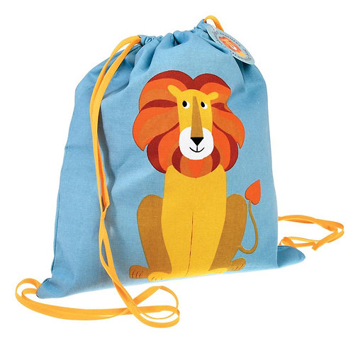 Personalised Embroidered Drawstring Bag - Charlie the Lion - Add Name