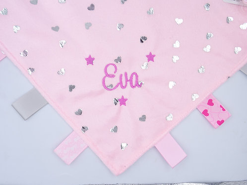 Personalised Baby Comforter/Security Blanket With Tags Pink with Silver Hearts