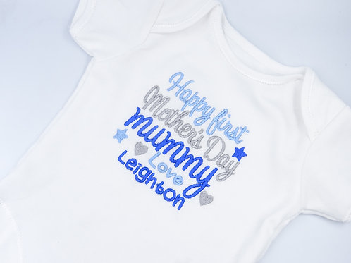 Personalised Embroidered Happy First Mother's Day Mummy T-shirts