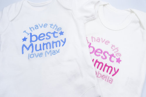 Personalised Embroidered I Have The Best Mummy Love Name Short Sleeved Vest