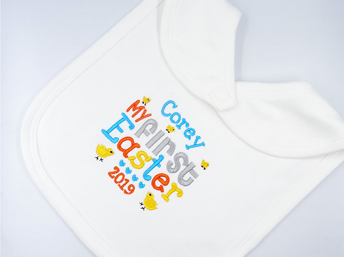 Personalised Embroidered Name's First Easter Unisex Baby Bib