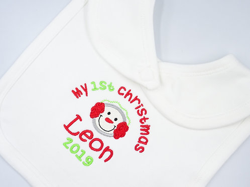 Personalised My 1st Christmas with Snowman Applique baby bib - add name and year