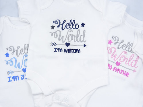Personalised Hello World I'm Name Short Sleeved Vest