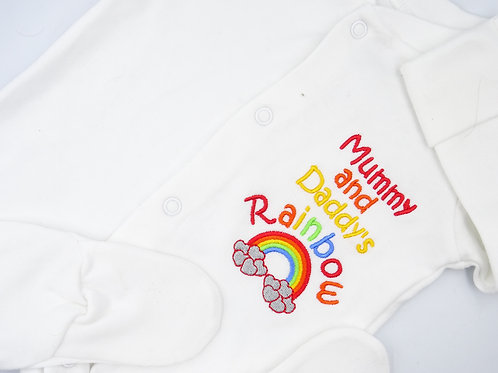 Embroidered Mummy and Daddy's Rainbow Sleepsuit