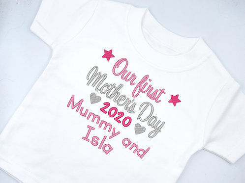 Personalised Embroidered Our First Mother's Day Mummy and T-shirt