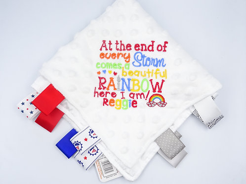 Personalised At The End Every Storm Rainbow Baby Name Blanket With Tags