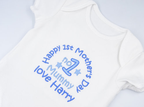 Personalised Embroidered Happy 1st No1 Mummy Love Name Short Sleeved Vest