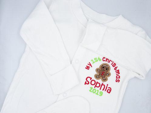 Personalised My 1st Christmas Gingerbread Sleepsuit