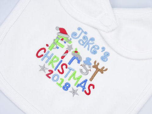 Personalised Boys Name First Christmas Bib