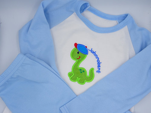 Personalised Dinosaur with Name Unisex Pyjamas (Red,Pink or Blue)