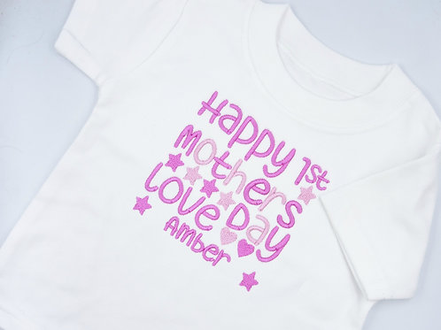 Personalised Happy 1st Mother's Day Stars and Hearts T-shirt