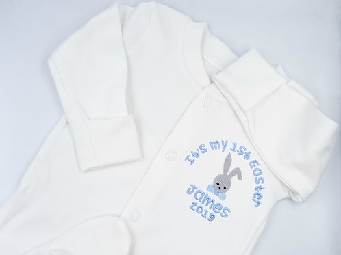 Personalised Embroidered It's My 1st Easter Bunny Baby Sleepsuit