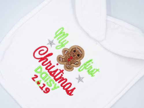 Personalised My First Christmas Gingerbread Man Bib
