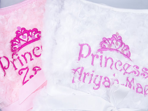 Personalised Embroidered Tiara Princess Blanket - Add Any Name