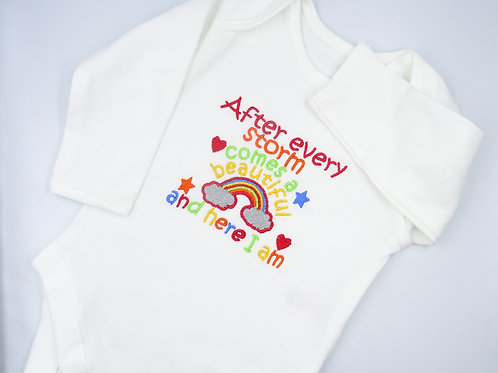 Embroidered After Every Storm Comes a Beautiful Rainbow Long Sleeved Vest