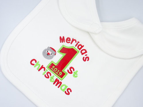 Personalised Name's 1st Christmas baby bib with applique number 1