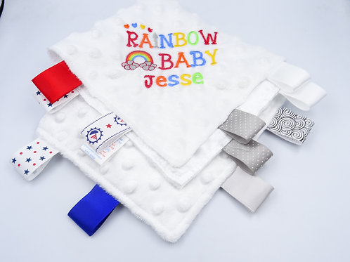Personalised Rainbow Baby Name Blanket With Tags (Blue Dimples)