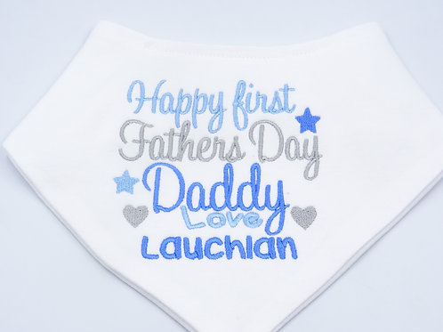 Personalised Happy First Fathers Day Daddy Bib