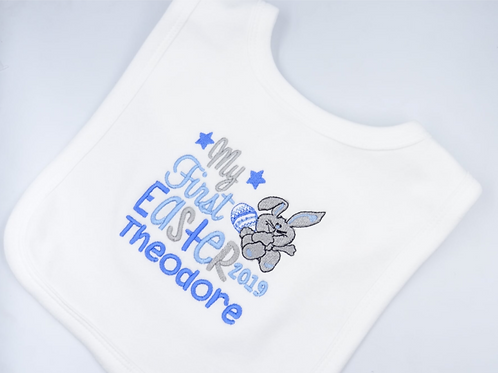 Personalised Embroidered My First Easter Bunny and Egg Baby Bib