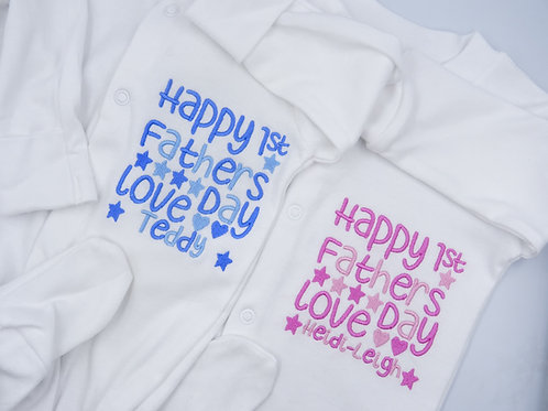 Personalised Happy 1st Fathers Day Daddy Sleepsuit