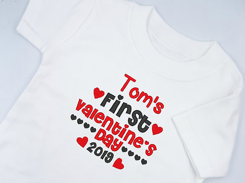 Personalised Embroidered Name's First Valentine's Day Baby Clothing T-shirt