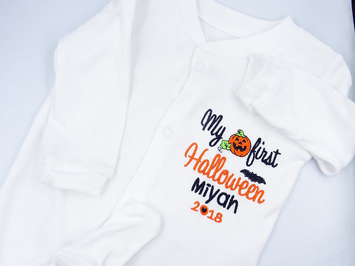 Personalised My First Halloween with Pumpkin Sleepsuit